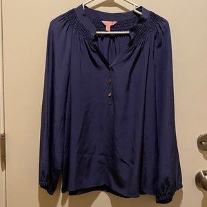 Lily Pulitzer navy blue tunic top w/gold buttons
